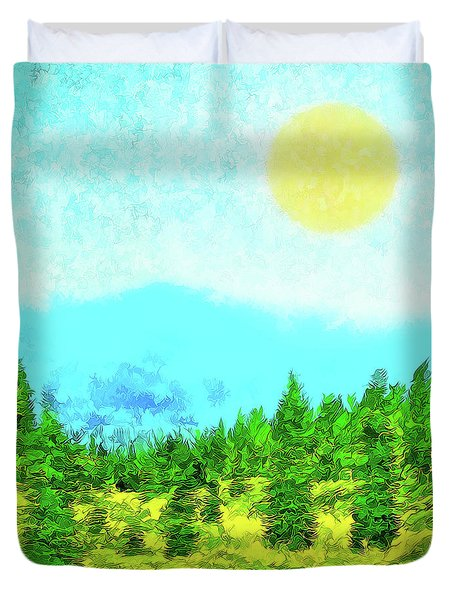 Pine Tree Mountain Blue - Shasta California Duvet Cover