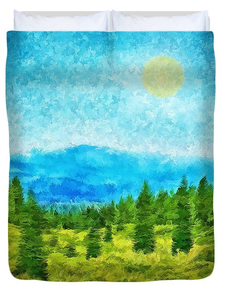 Pine Tree Mountain Blue - Shasta California Duvet Cover by Joel Bruce Wallach