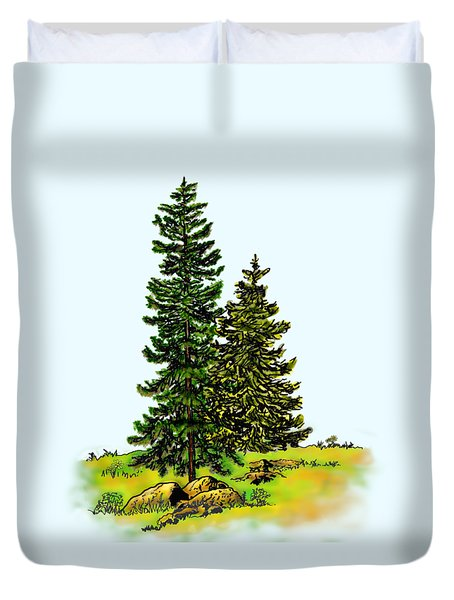 Pine Tree Nature Watercolor Ink Image 2b        Duvet Cover