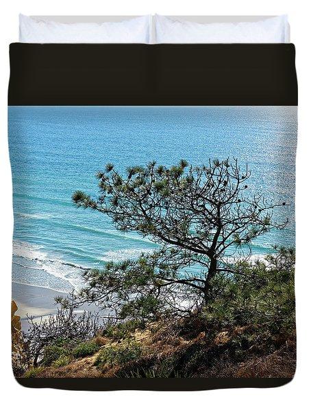Pine Tree On Coast Duvet Cover