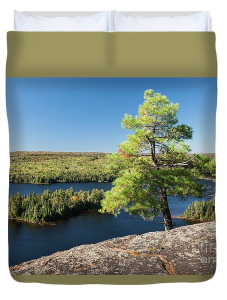Duvet Cover featuring the photograph Pine Tree With A View by Elena Elisseeva