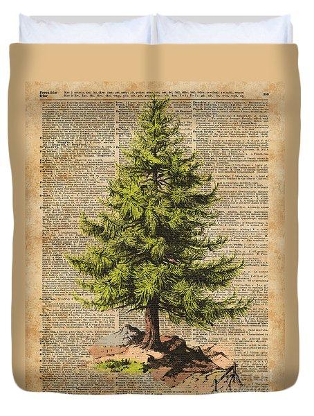 Pine Tree,cedar Tree,forest,nature Dictionary Art,christmas Tree Duvet Cover