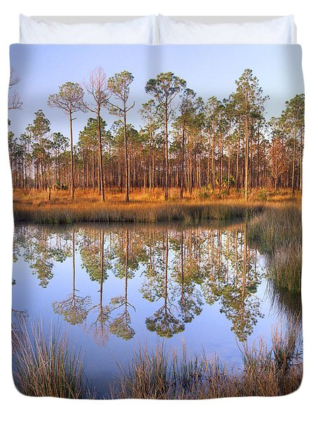 Pine Trees Reflected In Pond Near Piney Duvet Cover
