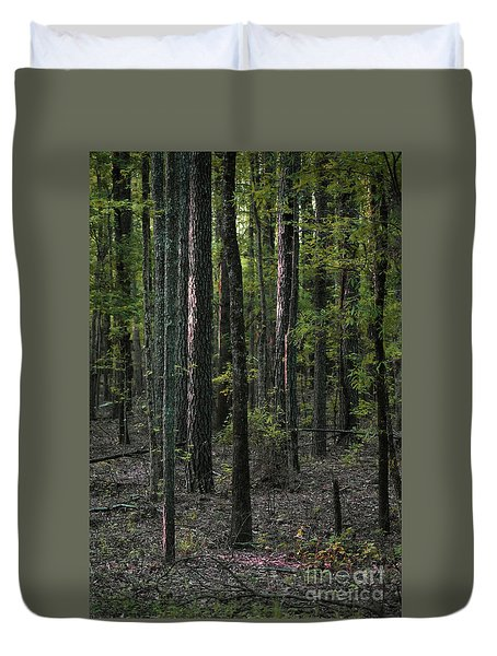 Duvet Cover featuring the photograph Pine Wood Sunrise by Skip Willits