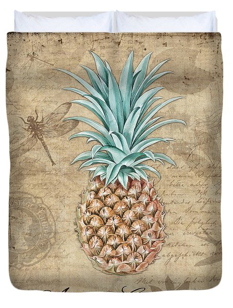 Pineapple, Ananas Comosus Vintage Botanicals Collection Duvet Cover by Tina Lavoie