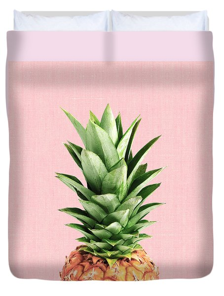Pineapple And Pink Duvet Cover by Vitor Costa