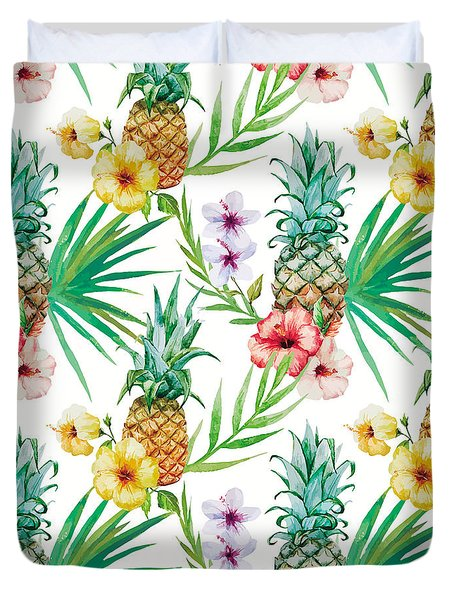 Pineapple And Tropical Flowers Duvet Cover