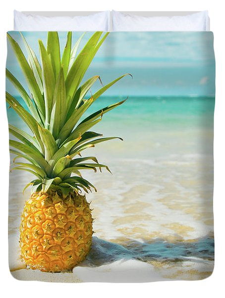 Duvet Cover featuring the photograph Pineapple Beach by Sharon Mau