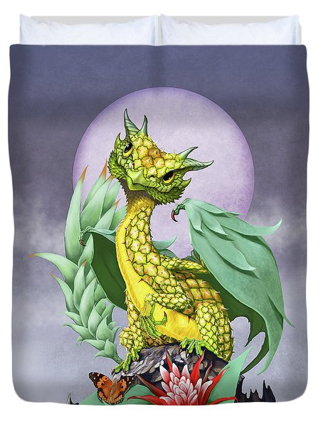 Duvet Cover featuring the digital art Pineapple Dragon by Stanley Morrison