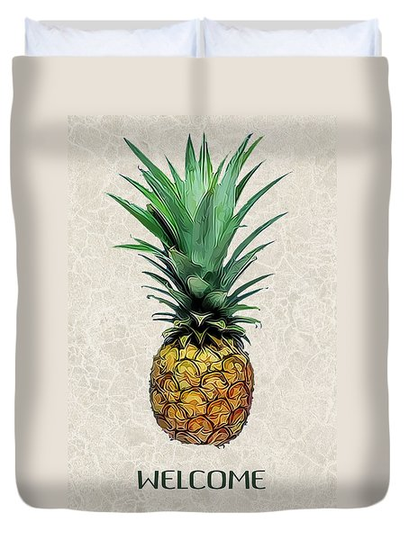 Pineapple Express On Mottled Parchment Welcome Duvet Cover by Elaine Plesser