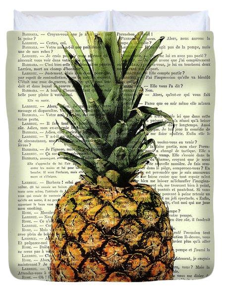Pineapple In Color Illustration Duvet Cover