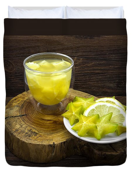 Pineapple Juice And Star Fruit Duvet Cover