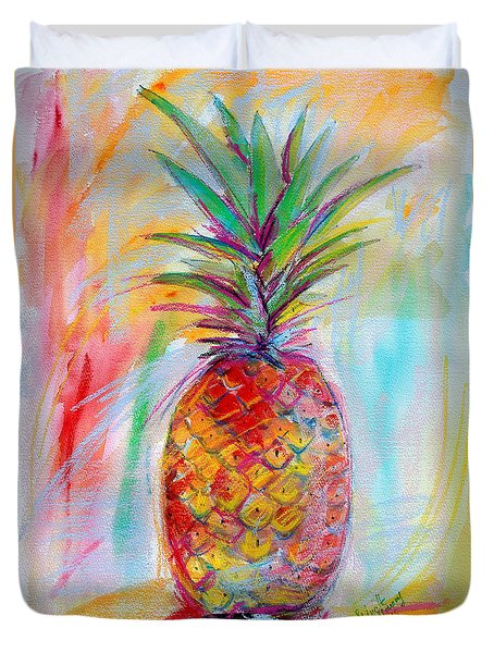 Pineapple Mixed Media Painting Duvet Cover