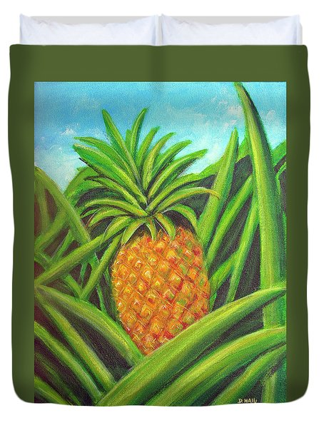 Pineapple Painting #332 Duvet Cover by Donald k Hall