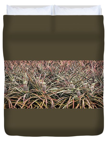 Duvet Cover featuring the photograph Pineapple Pano by Heather Applegate