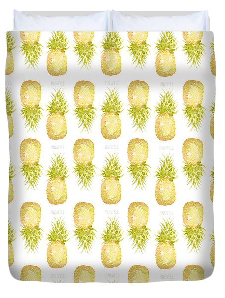 Duvet Cover featuring the painting Pineapple Print by Cindy Garber Iverson
