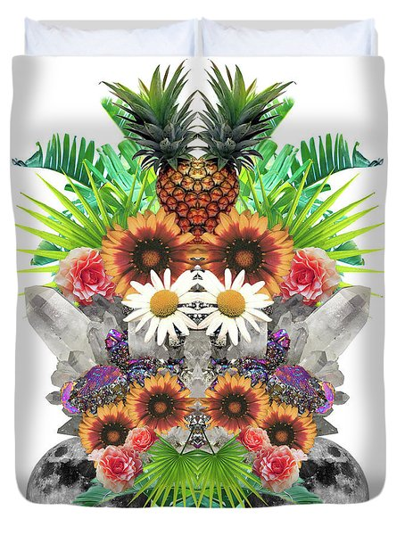 Pineapples And Crystals Duvet Cover by Tess Jene