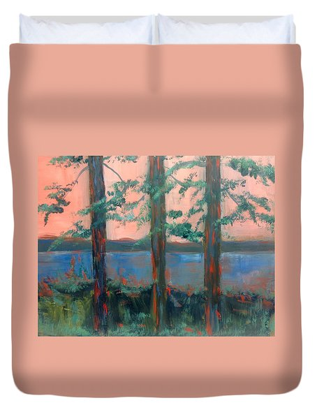 Pines At Dusk Duvet Cover