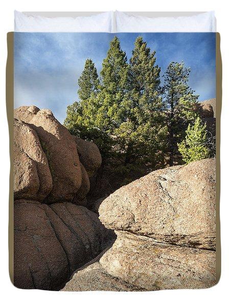 Pines In Granite Duvet Cover