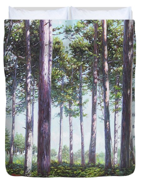 Pines In New Forest Shade Duvet Cover
