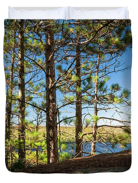 Pines On Sunny Cliff Duvet Cover