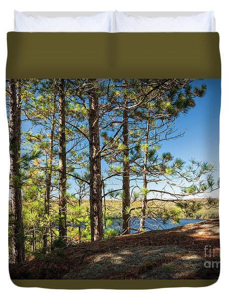 Duvet Cover featuring the photograph Pines On Sunny Cliff by Elena Elisseeva
