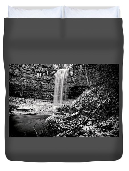 Piney Falls In Black And White Duvet Cover