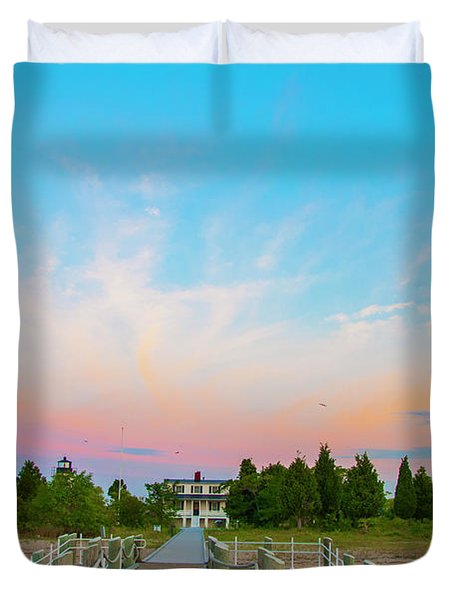 Piney Point Lighthouse From The Pier - Piney Point Maryland Duvet Cover