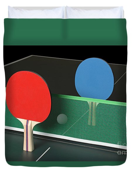 Ping Pong Paddles On Table, Standing Upright Duvet Cover