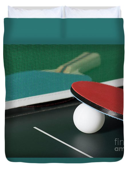 Ping Pong Paddles On Table With Net Duvet Cover