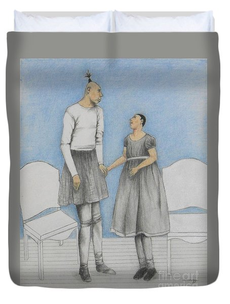 Pinhead Friends -- Portrait Of 2 Developmentally Disabled Men Duvet Cover