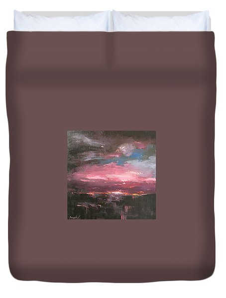 Duvet Cover featuring the painting Pink by Anastasija Kraineva