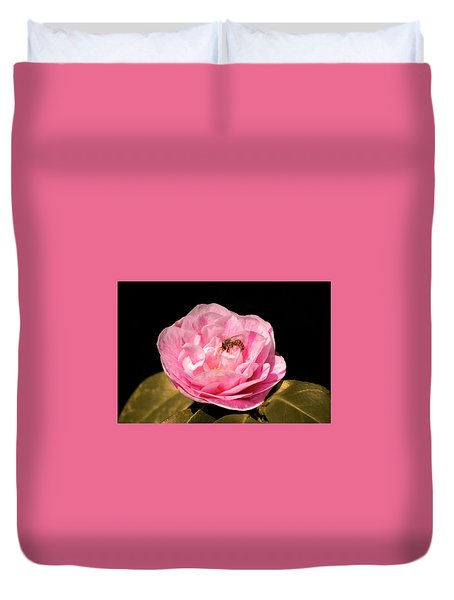 Pink And Bee Duvet Cover
