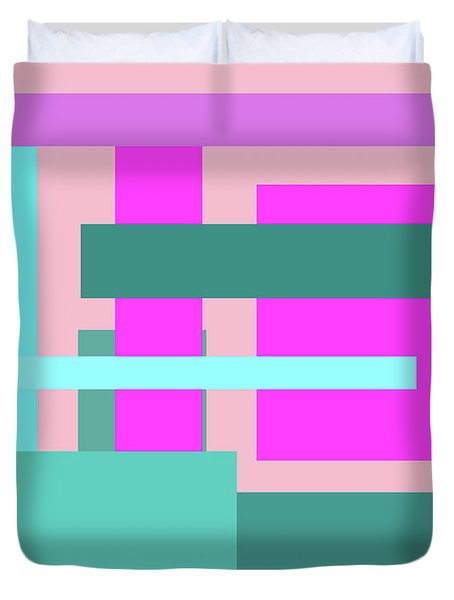 Pink And Blue Blocks Abstract Duvet Cover