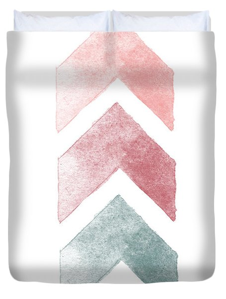 Pink And Blue Chevron Watercolor  Duvet Cover
