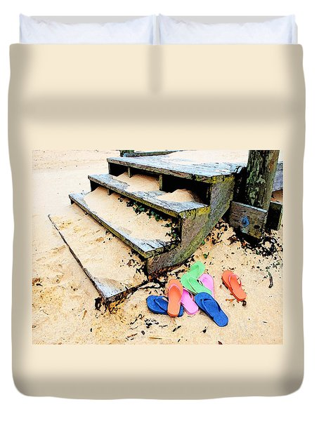 Pink And Blue Flip Flops By The Steps Duvet Cover by Michael Thomas