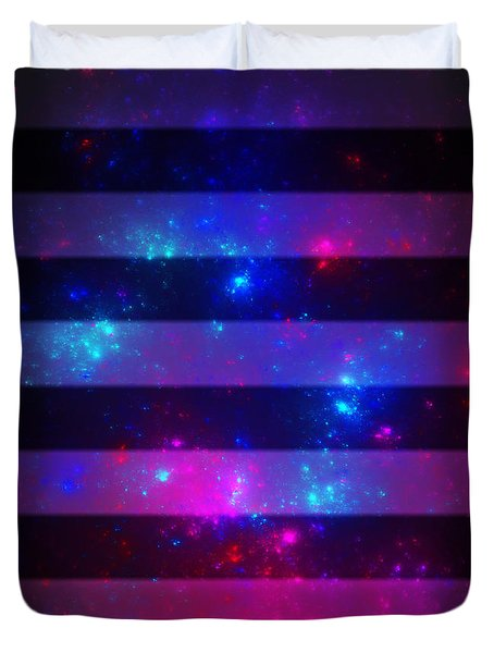 Pink And Blue Striped Galaxy Duvet Cover