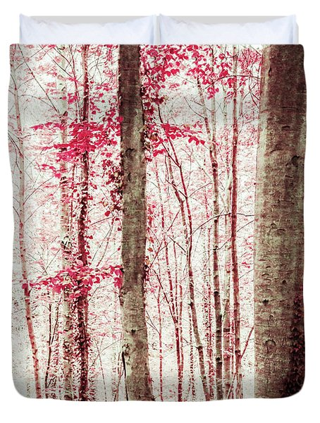 Pink And Brown Fantasy Forest Duvet Cover