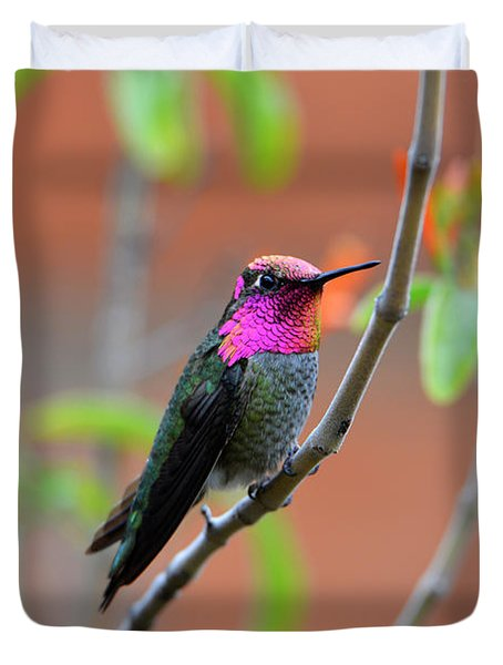 Pink And Gold Anna's Hummingbird Duvet Cover