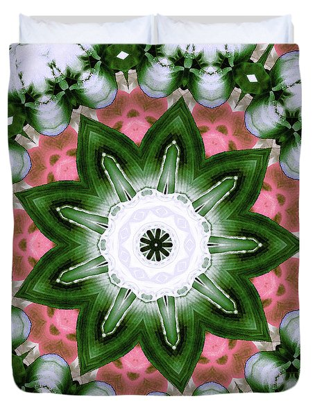 Duvet Cover featuring the digital art Pink And Green Floral by Shawna Rowe