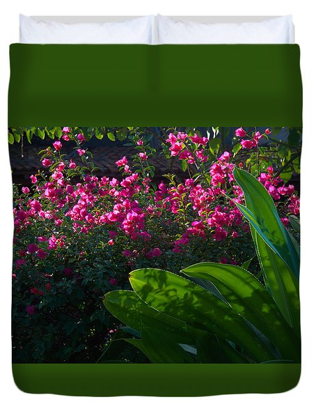 Duvet Cover featuring the photograph Pink And Green by Jim Walls PhotoArtist