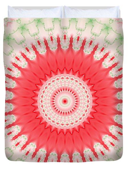 Pink And Green Mandala Fractal 001 Duvet Cover