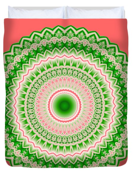 Pink And Green Mandala Fractal 002 Duvet Cover