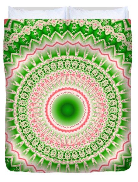 Pink And Green Mandala Fractal 002 Duvet Cover
