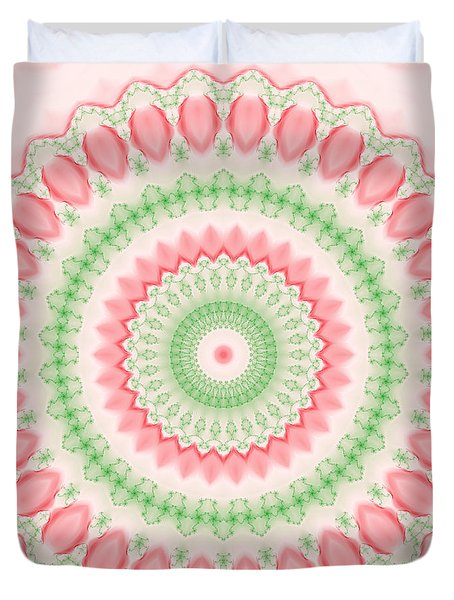 Pink And Green Mandala Fractal 003 Duvet Cover