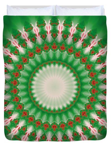 Pink And Green Mandala Fractal 005 Duvet Cover