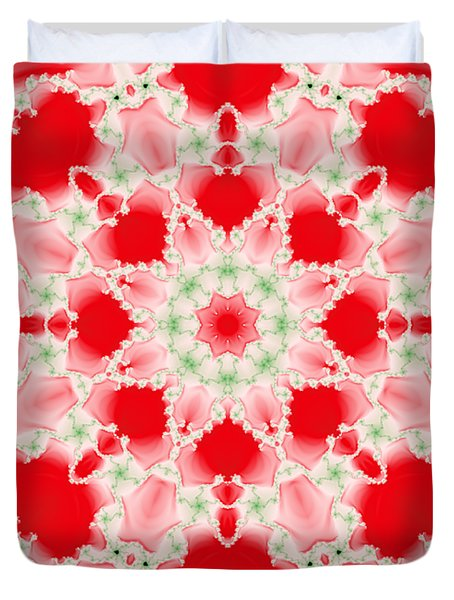 Pink And Green Watercolor Snowflake Fractal Duvet Cover