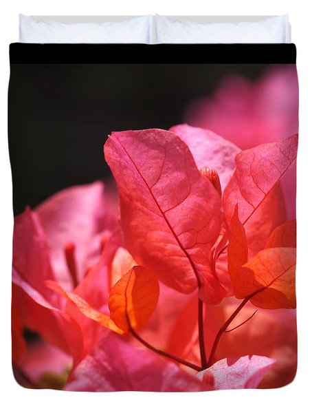 Pink And Orange Bougainvillea Duvet Cover by Rona Black
