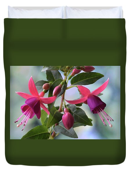 Pink And Purple Fuchsia Duvet Cover