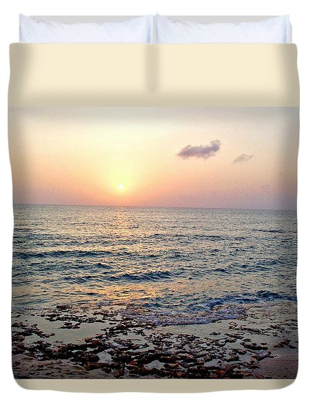 Pink And Purple Sunset Over Grand Cayman Duvet Cover by Amy McDaniel